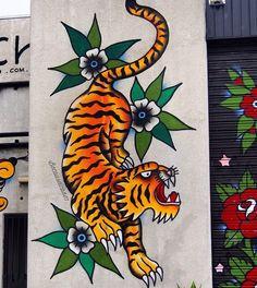 by Steen Jones in Melbourne (LP) Amazing Street Art, Amazing Art, Art Intervention, Graffiti Art, Comic Books Art, I Fall In Love, Urban Art, Cat Art, Murals