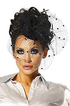 Haarschmuck für Fasching oder Burleske Parties. Eleganter und zeitloser Fascinator! Dieser Mini-Hut ist mit einem Schleier aus Tüll verziert. #burlesque #Kostüm  | *Werbung