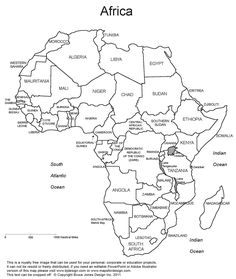Printable Map of Africa | Africa, Printable Map with Country Borders and Names, Outline, Blank ...