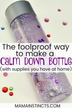 The Foolproof Way to Make a Calm Down Bottle Have issues getting sensory bottles to work for you? Check out this tutorial and your next bottle will be a knock out. You can customize the bottles with any items you have at home. Calm Down Jar, Calm Down Bottle, Calm Down Corner, Glitter Sensory Bottles, Glitter Jars, Glitter Crafts, Glitter Calming Jar, Sensory Activities, Infant Activities