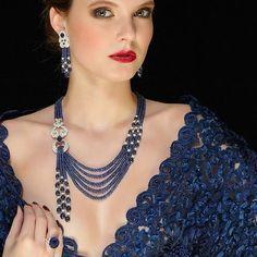 Sapphire set by Schreiner high jewellery via ruby jewelry India Jewelry, Bead Jewellery, High Jewelry, Pearl Jewelry, Bridal Jewelry, Diamond Jewelry, Beaded Jewelry, Jewelery, Jewelry Necklaces