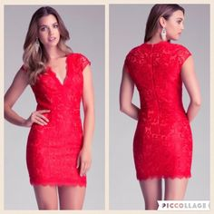 Bebe Red Lace V Neck Dress ❤️ Valentine's Day  Amazing red lace Bebe dress! Be neck at front, zipper closure at back, fully lined. Such a statement dress! Literally just purchased from another posher, but it a bit too tight on the bottom for me  Size 6, fits true to size but doesn't have a much stretch.  please no trades  posh sales only  fast shipping  bebe Dresses Mini