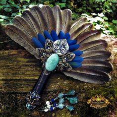 Smudge Fan Blue Macaw Turkey Feathers Amazonite by SpinningCastle
