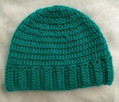 Teal Green Crochet Stretchy Banded Beanie by SonitasYarnStash