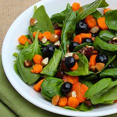 Cleanse and Detox Superfood Salad combines the cleansing elements of lemon, the super foods spinach and blueberries, sweet and fibrous dates, protein-rich almonds to satiate hunger, crunchy carrots, and a touch of the healthy monounsaturated fat found in olive oil.