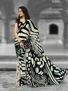 Off White and Black Color Crepe Office Wear Sarees : Sarah Collection Indian Silk Sarees, Indian Designer Sarees, Black And White Saree, Wedding Saree Collection, Stylish Sarees, Silk Sarees Online, Saree Styles, Traditional Outfits, Indian Outfits