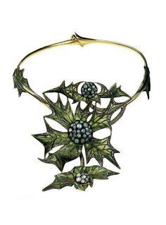 Lucien Gaillard | Thistle necklace - c. 1903. Gold, plique-a-jour enamel and opals.