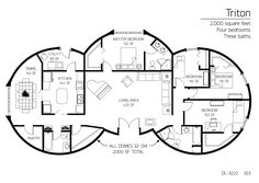 2,000 square feet Four bedrooms Three baths Floor Plan: DL-3222 | Monolith  Family-sized