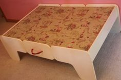 garage sale train table turned adorable little girl's play table