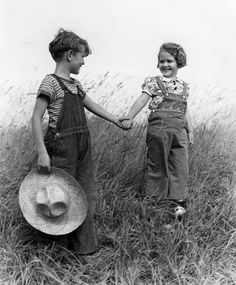 Cute boy and girl vintage photo...