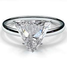 2.00 CARAT TRILLION CUT DIAMOND SOLITAIRE ENGAGEMENT RING SOLID 14K WHITE GOLD