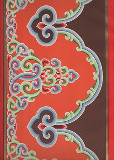 Old Russian pattern. This may say it is Russian, but it looks very similar to patterns I saw on Mongolian furniture inside their gers. Mehndi, Henna, Style Russe, Chinese Ornament, Korean Painting, Chinese Patterns, Tibetan Art, Oriental Pattern, China Art