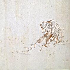 Mel Griffin, lonely orangutan illustration on tile panel. www.melgriffin.com