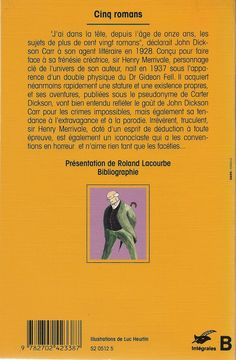 Les Intégrales du Masque - J.D. Carr - Volume 3 - Verso - Mai 1993