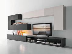 Mueble modular de pared composable con soporte para tv CF66 Colección Modus by Presotto Industrie Mobili   diseño Pierangelo Sciuto