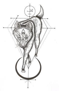 I like the sacred geometry around the wolf. (Mirja Fenris Tattoo)