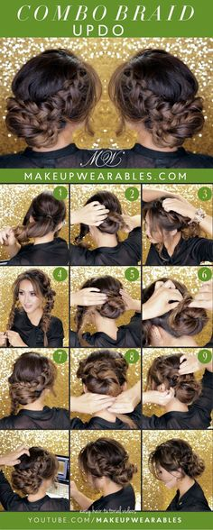 Curly Romantic Bun   Holiday Updo Hairstyles   #Braids   Cute Easy Hair Style