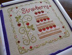 Strawberry Shortcake--on 40-ct fabric! Eeeep! <3
