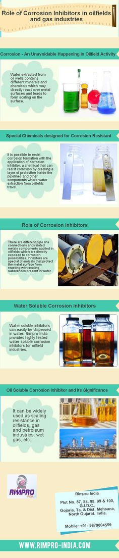 This infograph is all about special chemicals designed for corrosion resistant, water soluble corrosion inhibitors, oil soluble corrosion inhibitor and its significance. It is possible to resist corrosion formation with the application of corrosion inhibitor, a chemical that can resist corrosion by creating a layer of protection inside the pipelines and other components where water extraction from oilfields travel.