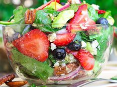 Best Ever Strawberry Spinach Salad will rock your world! This simple recipe is a celebration of summers bounty in the most spectacular salad you will ever eat. Fresh crisp spinach salad is taken to an Summer Recipes, New Recipes, Cooking Recipes, Healthy Recipes, Cooking Tips, Blueberry Salad, The Slow Roasted Italian, Spinach Salad Recipes, Spinach Strawberry Salad