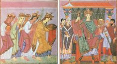 Abbey of Reichenau | A pair of facing paintings showing the peoples of the world adoring Otto III, from the Gospels of Otto III. Possibly the Most Valuable Book in the World, Circa 998 – 1001