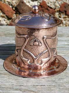An Exceptional J F Pool of Hayle Arts Crafts Copper Biscuit Barrel | eBay