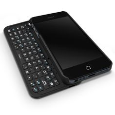 Wrap this case around your iPhone 5, and you've got a slide-out Bluetooth QWERTY hardware keyboard.