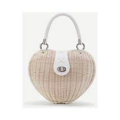 Heart Shaped Straw Bag With Twist Lock (€34) ❤ liked on Polyvore featuring bags, handbags, white, white purse, vintage purses, vintage bags, heart shaped handbag and heart purse