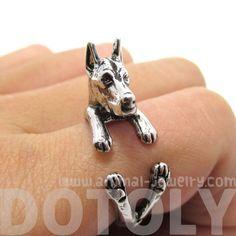 3D Doberman Dog Shaped Animal Wrap Ring in Shiny Silver