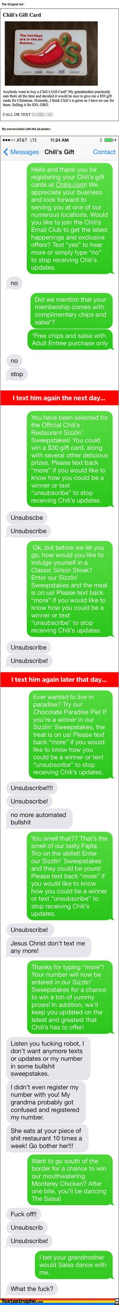 Bro Awesomely Trolls a Man on Craigslist Who's Selling a Chili's Gift - BroBible.com