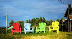A splash of color at the Ravenstreet Cafe on Saltspring Island, BC Outdoor Chairs, Outdoor Furniture, Outdoor Decor, Color Splash, Cameras, Island, Spring, Places, Home Decor