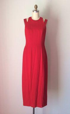Rose Red Formal Prom Dress // Lattice Criss cross back straps with Rhinestones // Size 9-10 Sleeveless Maxi Dress on Etsy, $95.00