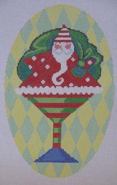 Handpainted Needlepoint Canvas CBK Noiset Santa Martini Glass + Guide MN-XO01 #CBKMicheleNoiset