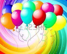 rainbow star: Rayons festives avec de nombreuses étoiles et les ballons.  illustration.