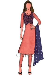Buy Coral peach Chanderi Cotton Churidar Suit N Jacket online, SKU Code: This White color After Six churidar suit for Women comes with Sequins Net . Fashion Model Sketch, Fashion Sketches, Fashion Models, Pencil Art, Pencil Drawings, Art Drawings, Diy Fashion Dresses, Fashion Outfits, Dress Sketches