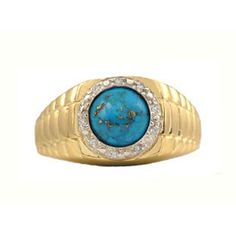 Men's Diamond and Turquoise Ring in Yellow Gold Available Exclusively at Gemologica.com