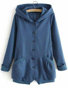Blue Hooded Long Sleeve Pockets Sweatshirt for HPL - HandpickLook.com