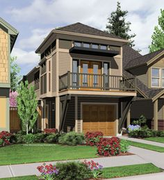 Narrow lot plan ... Starting to see more homes with this architectural design.. Properties still in Peeping Tom distances lol