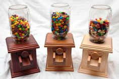 Hand-made Wooden Candy Dispenser - M&m Peanut Skittles Snack - Wood Candy…
