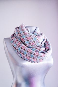 Handmade Squared Infinity Scarf - Tweed - Blue Pink Brown - Winter Autumn Scarf on Etsy, $25.00