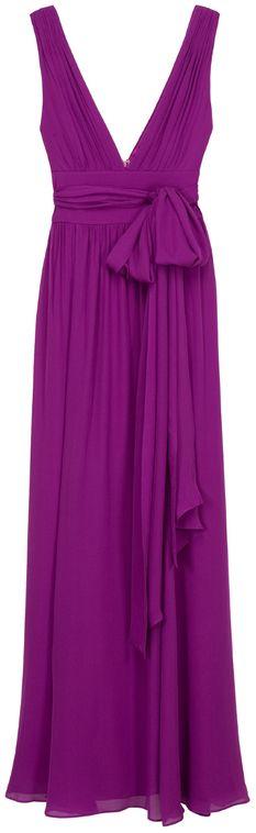 Halston Heritage Waist Tie Grecian Gown in Purple