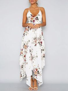 Onefa Womens Sleeveless Stylish Chiffon with Belt V-Neck Printed Floral Maxi Dress Casual Dress with Simple but Pretty Design for Your Daily Wear Holiday