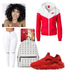 """""""B L O O D """" by vannah258 ❤ liked on Polyvore featuring NIKE and MCM"""