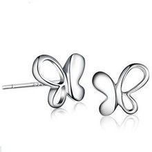 Nuevo envío 925 pendiente de plata moda joyería de plata esterlina lindo Zircon de la mariposa pendientes E222(China (Mainland))