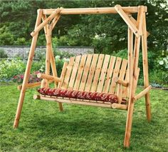Outdoor 4 Feet Log Swing 2 Seater Wooden Log Chair Patio Deck Front BackYard