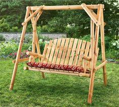 Outdoor 4 Feet Log Swing 2 Seater Wooden Log Chair Patio Deck Front BackYard
