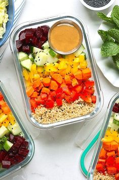 Make good use of crunchy and colorful seasonal produce in these meal-prep-friendly vegetable bowls. With just 30 minutes of prep, you get four healthy lunches that are ready to grab-and-go. #salads #saladrecipes #healthysalads #saladideas #healthyrecipes