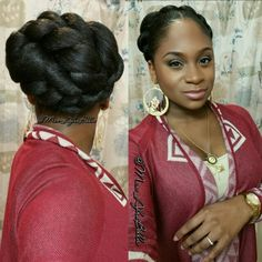 Elegant protective style for natural hair women. Faux bun using kanekalon hair.