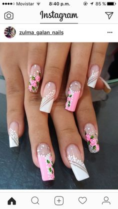 18 Super ideas for nails art facile pastel Hot Nails, Pink Nails, Hair And Nails, French Nails, Ring Finger Nails, Fall Manicure, Nails Now, Cute Nail Art, Beautiful Nail Designs