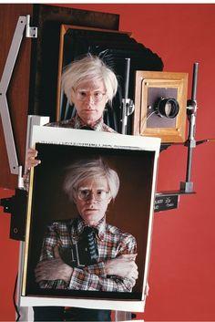 irthday, Pop's patriarch and #selfie pioneer, Andy Warhol! Andy Warhol (with self portrait & 20x24 Polaroid camera), 1980. Chromogenic print  by Bill Ray